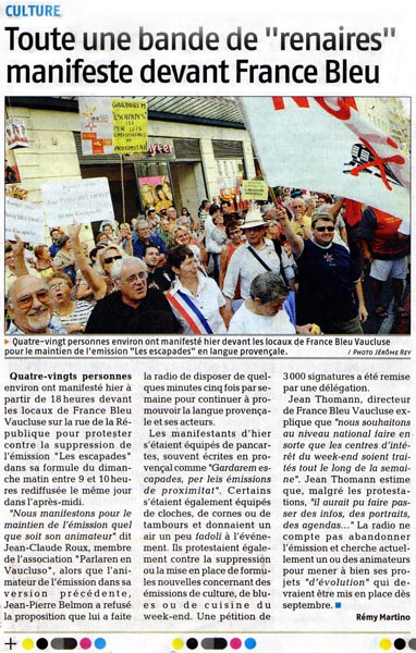 Article du journal La Provence du 12/07/2008.