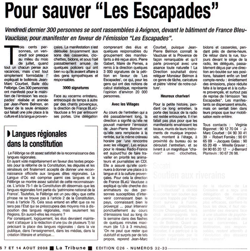 Article du journal La Tribune du 07/08/2008.